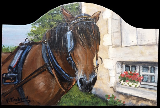 plaque de porte cheval brun promenade peinture sur bois acrylique artiste peintre virginie. Black Bedroom Furniture Sets. Home Design Ideas