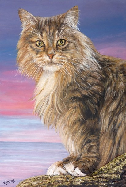 Peinture Chat maine coon assis - Acrylique et relief 3D - Virginie trabaud copyright