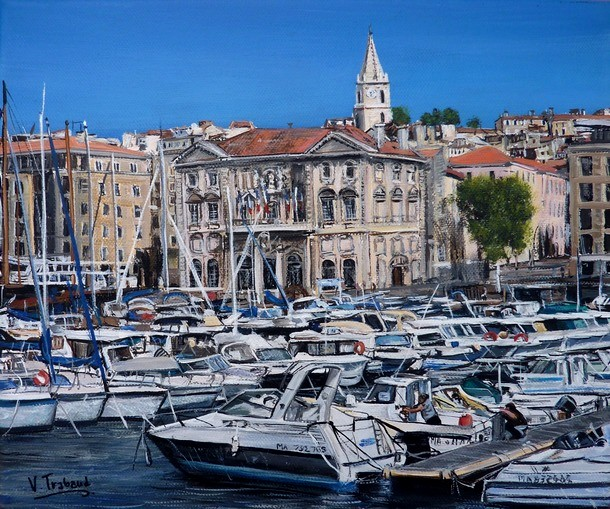 peinture le port de marseille acrylique en relief 3d artiste peintre virginie trabaud. Black Bedroom Furniture Sets. Home Design Ideas