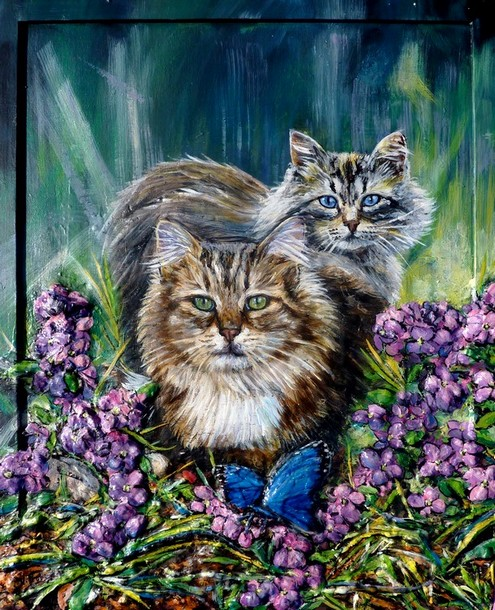peinture chats maine coon et papillon bleu toile acrylique en relief artiste peintre. Black Bedroom Furniture Sets. Home Design Ideas