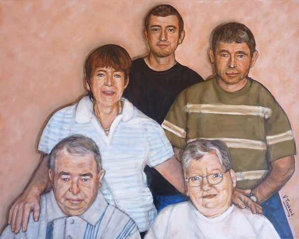peinture portrait de famille d apr s photos 5 portraits toile acrylique r aliste artiste. Black Bedroom Furniture Sets. Home Design Ideas