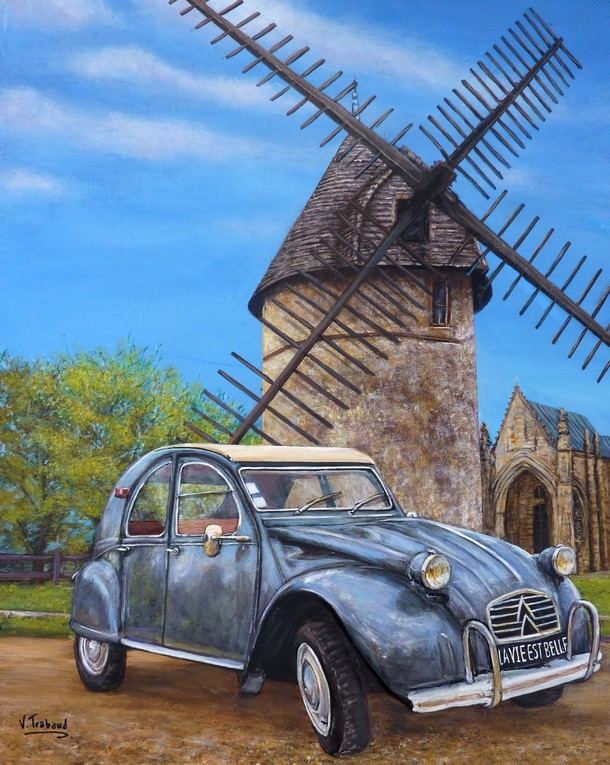peinture 2 cv azam et moulin de vend e toile acrylique en relief artiste peintre virginie. Black Bedroom Furniture Sets. Home Design Ideas