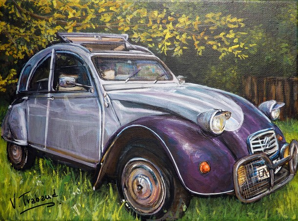 peinture 2 cv grise et violette mod le 1990 toile acrylique r aliste artiste peintre. Black Bedroom Furniture Sets. Home Design Ideas