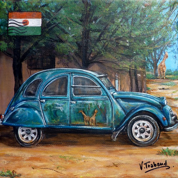 peinture 2 cv verte niger toile acrylique r aliste artiste peintre virginie trabaud. Black Bedroom Furniture Sets. Home Design Ideas