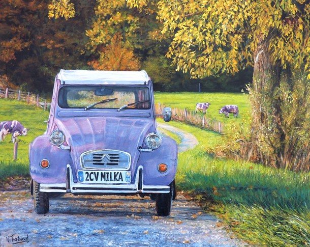 peinture 2 cv violette paysage campagne toile acrylique en relief artiste peintre virginie. Black Bedroom Furniture Sets. Home Design Ideas