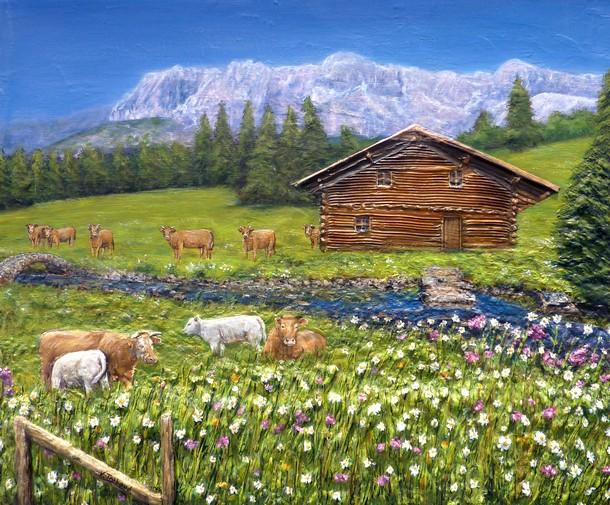 peinture chalet montagnes et vaches toile acrylique en relief artiste peintre virginie trabaud. Black Bedroom Furniture Sets. Home Design Ideas