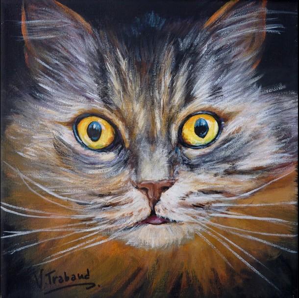 Exceptionnel Peinture Chat européen tigré Portrait | Toile Acrylique Réaliste  GJ91