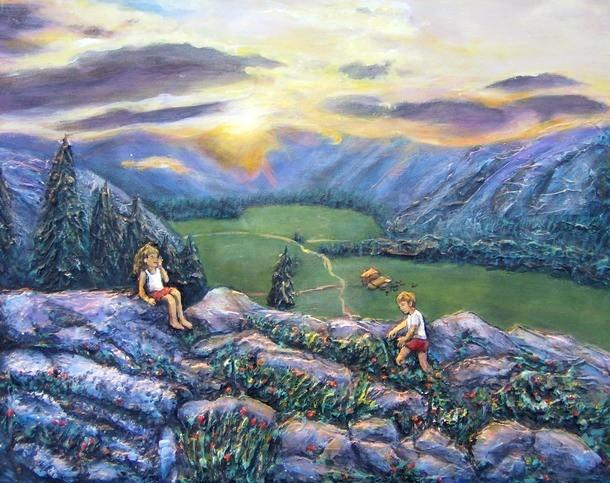 peinture les enfants sur la montagne toile acrylique en relief artiste peintre virginie trabaud. Black Bedroom Furniture Sets. Home Design Ideas