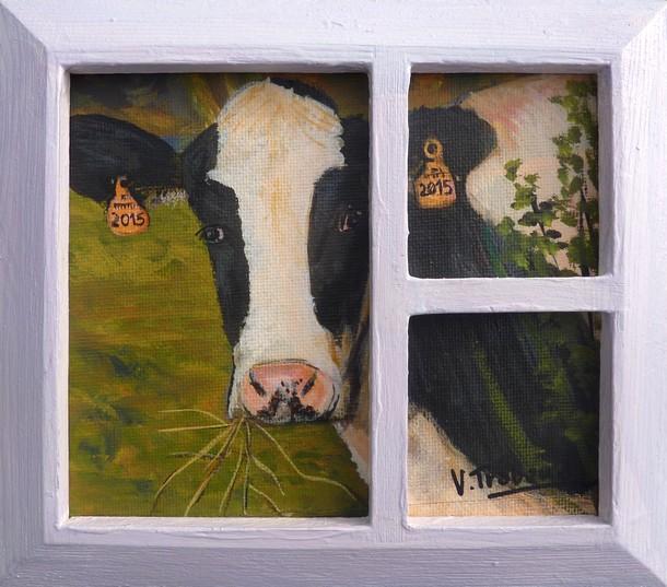 peinture vache noire et blanche et fen tre toile. Black Bedroom Furniture Sets. Home Design Ideas