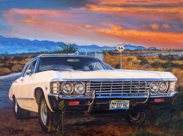 peinture chevrolet impala route 66 toile acrylique r aliste artiste peintre virginie trabaud. Black Bedroom Furniture Sets. Home Design Ideas